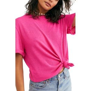 Free People Hot Pink Cassidy Tee